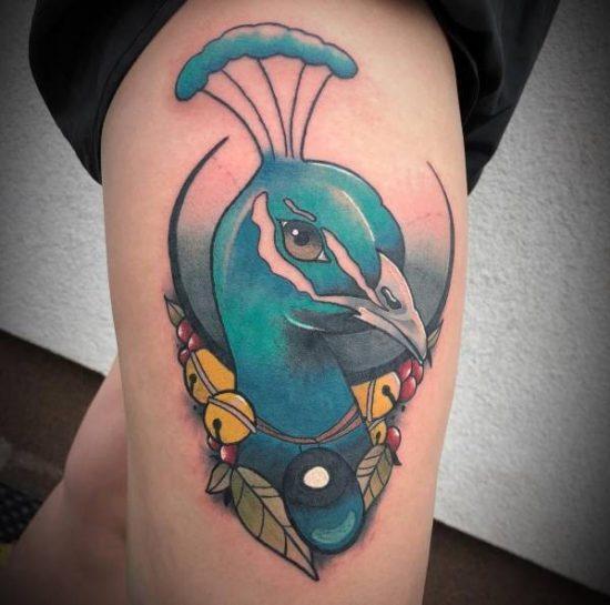 Påfågel-tatuering: Betydelse, design, historia och foton