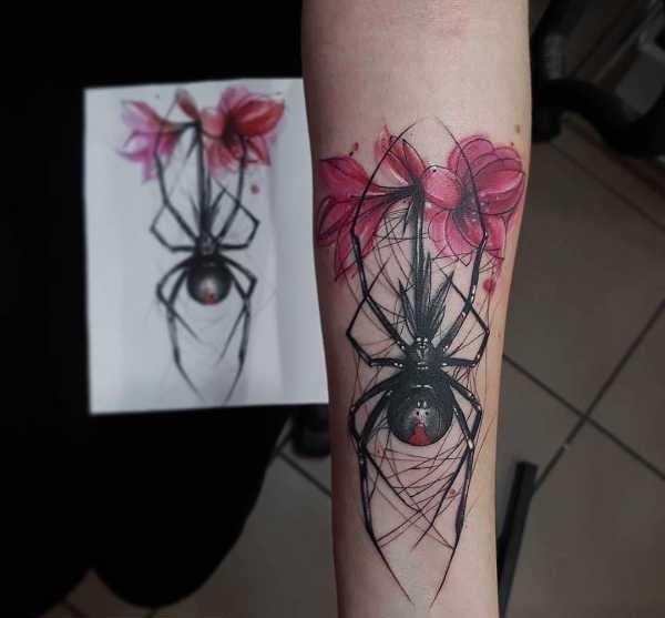 Spindel tatuering: Betydelse, design, historia och foton