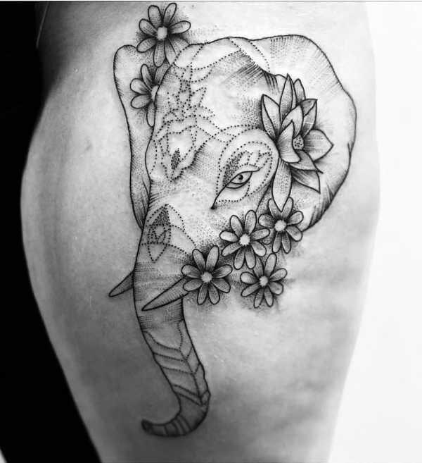 Elefant tatuering: Betydelse, design, historia och foton Djur Tatuering idéer och betydelser