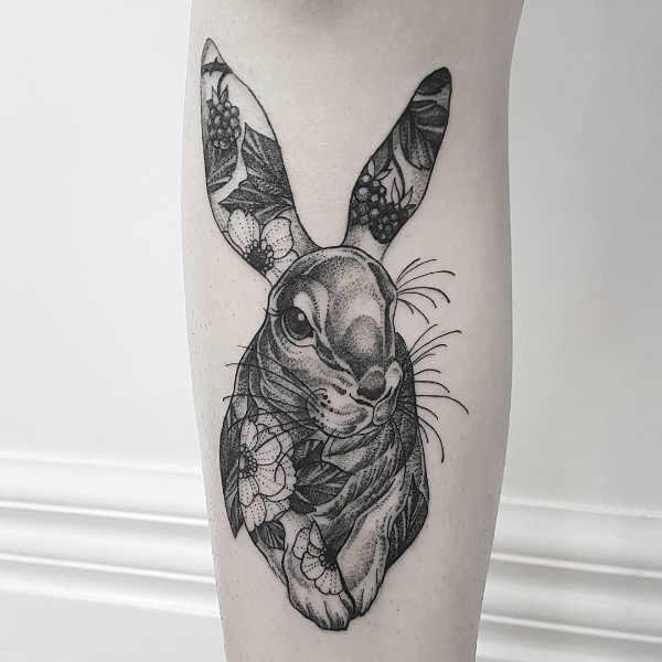 Tatueringar av kaniner: Betydelse, design, historia och foton Djur Tatuering idéer och betydelser